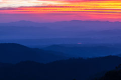 Morning sunrise vantage point on the mountain Stock Photography