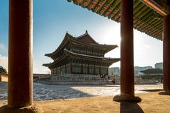 Morning sunrise with view of Gyeongbokgung Palace in Seoul city, South Korea.  royalty free stock photo