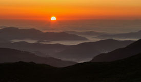 Morning sunset in the mountains. Sunset in the mountains at National Park Rodnei Mountains stock images