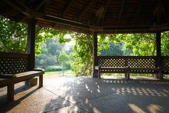 Morning sunshine seen from a garden pavillion Royalty Free Stock Photo