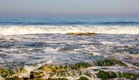 Morning surf on the Mediterranean sea Stock Photos