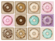Morning sweets. Yummy donuts. The  file is fully . Just ungroup each one to edit it Royalty Free Stock Photography