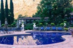 Morning Swimming Pool. A swimming pool waiting for swimmers to wake up in Lake Atatlan, Guatemala Royalty Free Stock Image