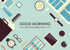 Morning table illustration. Good morning flat concept  illustration. Top view of table. Phone, clocks, case, papers, toothbrush, coffee cup, cookie, player Royalty Free Stock Photography