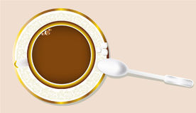 The morning tea. Morning tea - an illustration with a cup, a saucer, a spoon and sugar Stock Photo