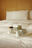 Morning Tea. To be serve on bed in your room royalty free stock image