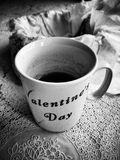 Morning tea. Artistic look in black and white. Stock Photo