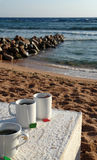 Morning tea on a beach Royalty Free Stock Photography