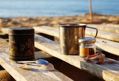 Morning tea on the beach stock images