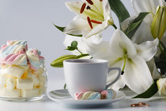 Morning tea cup with colored marshmallow white lily Stock Photography