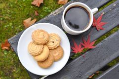 Morning tea in the garden. A cup of coffee and snacks Royalty Free Stock Image