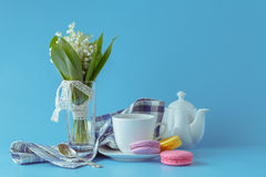 Morning tea with Lily of the valley flowers bouquet Stock Image