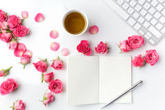 Morning tea and Notes. Time management,Creative background Top view. Flat lay. stock image