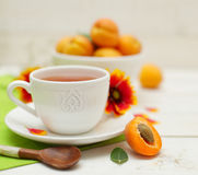 Morning tea and summer fruit. On background (shallow depth of field Stock Photos