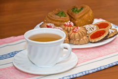 Morning tea. On a table there is a tea prepared for a breakfast Royalty Free Stock Image