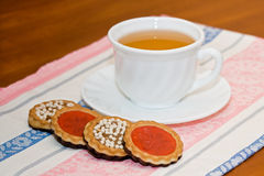 Morning tea. On a table there is a tea prepared for a breakfast Royalty Free Stock Images