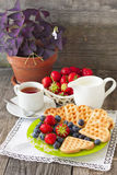 Morning tea with waffles, milk and fresh berries Royalty Free Stock Images