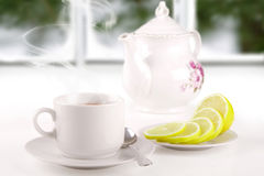 Morning tea on the window sill Stock Photography