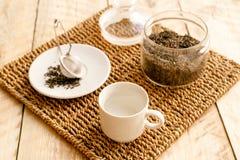 Morning tea on wooden table Stock Photo
