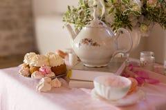 Morning tearoom table setting Stock Photos