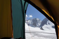 Morning in tent over glacier Dugoba, Pamir-alay Stock Photos