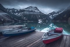 Sunrise at the Vilsalpsee in the mountains royalty free stock photo