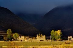 Morning of tibet altiplano. This is a village in morning royalty free stock image