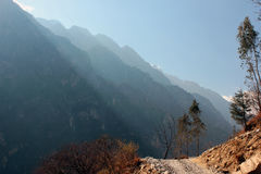 Morning in Tiger Leaping Gorge. Morning sunlight in deep mountain gorge, China Stock Images