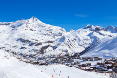 Morning in Tignes. Morning view of Tignes Le Lac, France Royalty Free Stock Image
