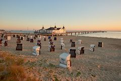 Morning time at baltic sea beach in Ahlbeck stock image