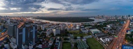 Chao phraya river of Bangkok Aerial view. Morning Time with Chao phraya river of Bangkok Aerial view from Drone Panorama Stock Photos