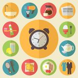 Morning Time, Morning Occupation Icons Set. Flat Royalty Free Stock Photo