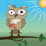 Morning with tired owl vector illustration