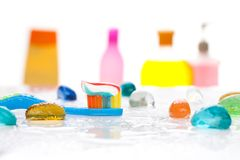 Morning and tooth brushing Stock Images