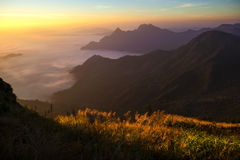 Morning at top of Chiang-rai. Landscpe of cloud and fog mountain in twilight scene from Thailand Stock Photography