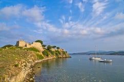 Morning at Toroni bay near old roman fortress, Sithonia Royalty Free Stock Images