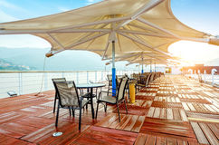 Morning tour boat deck Stock Photography