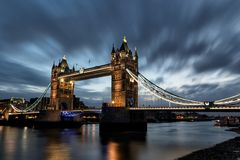 In the morning at the tower bridge. In the morning on cloudy and windy days at the tower bridge, the symbol of London stock image