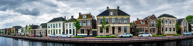 Morning in the town with channel.Netherlands. Stock Images