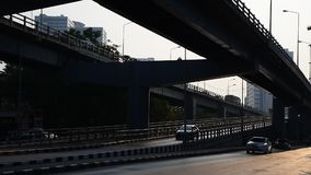 Morning traffic at bridge, Thailand. Morning traffic at bridge, Bangkok, Thailand stock video footage
