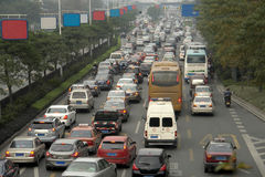 Morning traffic jam. Urban major trunk roads congestion in the morning Stock Images