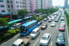 Shenzhen, China: Car congestion in Baoan Avenue Stock Photography