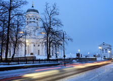 Morning traffic by Lutheran Cathedral Royalty Free Stock Photos