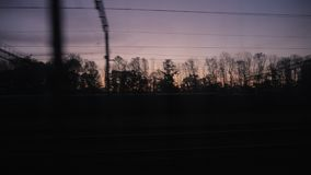 Morning on the train. Outside the window of twilight. POV video stock video footage