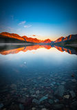 The Morning Tranquility with Full Moon Royalty Free Stock Images