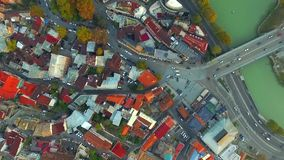 Morning transport in Tbilisi, topview stock footage
