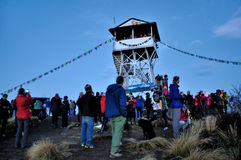 Travelers standing at the top of Poon Hill. In the morning, travelers standing at the top of Poon Hill which is a Mountain of the Himalayas in north-central stock photography