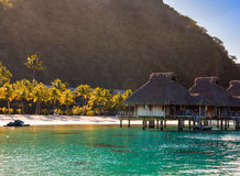 Morning on the tropical island. The sun ascends behind the mountain over a reed roof of a hut Royalty Free Stock Images