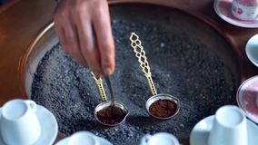 Morning with turkish coffee. Being brewed stock footage