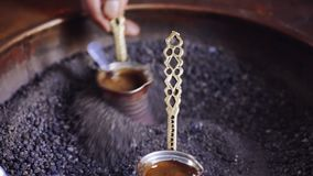 Morning with turkish coffee. Being brewed stock video footage